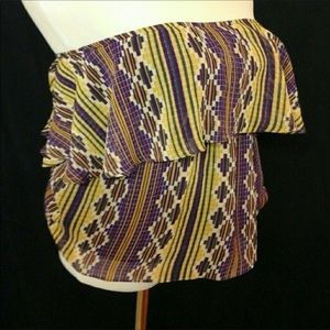 Judith March Tops - Summer Fashion Purple  and  Gold  Strapless  Top